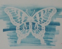 White Embossed Butterfly
